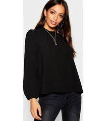 frill neck long sleeve woven blouse