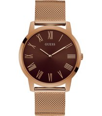 guess men's rose gold-tone stainless steel mesh bracelet watch 44mm
