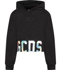 gcds mini black sweatshirt with silver logo for girl