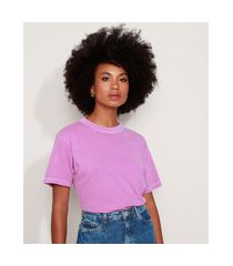 t-shirt feminina mindset ampla manga curta decote redondo roxa