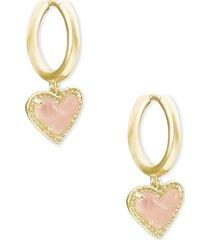 kendra scott ari heart huggie hoop earrings in gold/rose quartz at nordstrom