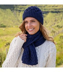 womens deep water blue cozy aran hat & scarf set