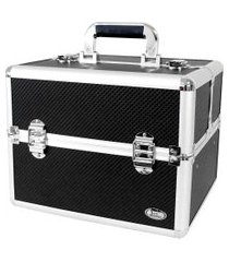 maleta de maquiagem profissional jacki design alumínio preta