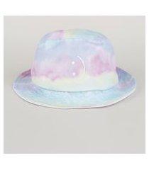 chapéu de sarja masculino bucket estampado de tie dye multicor