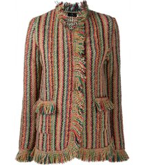 etro frayed striped cardigan - neutrals