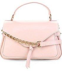 bolsa couro shoestock satchel corrente laço feminina