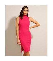 vestido canelado com fenda curto sem manga pink