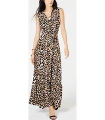 inc petite leopard-print faux-wrap dress, created for macy's