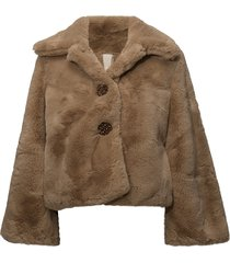 faux fur jacket outerwear faux fur brun by ti mo