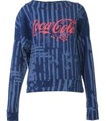 moletom fechado coca-cola jeans estampado azul - azul - feminino - algodã£o - dafiti