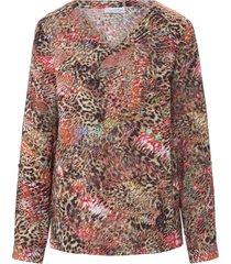 blouse met lange mouwen en smalle manchetten van looxent multicolour