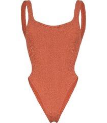 hunza g isolde domino crinkle swimsuit - brown