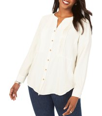 plus size women's foxcroft kira pleated garment dyed shirt, size 16 w - ivory