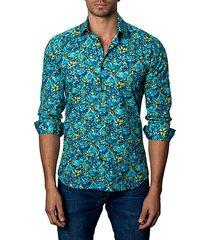 trim-fit floral-print cotton sport shirt