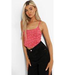 tall korset stijl bandana crop top met bandjes, coral pink