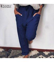 zanzea womem largos pantalones casuales flojos piernas bien harem holgado de los pantalones del tamaño extra grande -azul oscuro