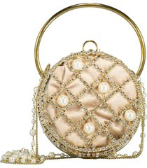 ines pearl and crystal drum clutch