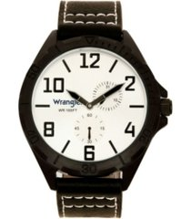 wrangler men's watch, 48mm ip black case with silver sunray dial, black applied arabic markers, rugged texture black strap with white stitching, multi-function watch