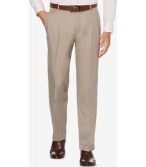 perry ellis men's portfolio classic/regular fit elastic waist double pleated cuffed dress pants