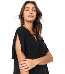 blusa lunender recorte preta - preto - feminino - viscose - dafiti