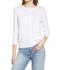 women's halogen crewneck cardigan, size x-large - white