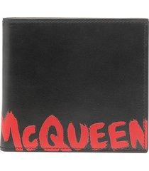 alexander mcqueen logo print bifold wallet - black