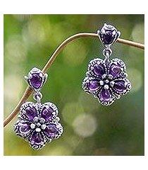 amethyst dangle earrings, 'mystic frangipani' (indonesia)