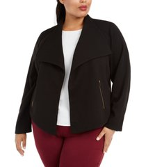 calvin klein plus size ribbed-knit open-front jacket