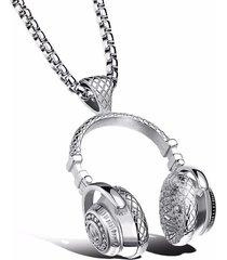 dije collar audifonos acero inoxidable rock hombre 354 plateado