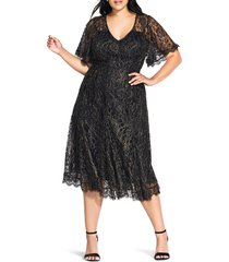 plus size women's city chic metallic lace swing cocktail dress