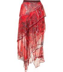 camilla pirate punk-print silk skirt - red