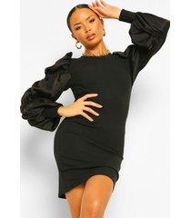 geribbelde geplooide satijnen mini jurk met pofmouwen, black