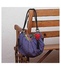 leather accent cotton hobo bag, 'boho garden' (mexico)