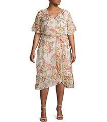 plus floral-print midi wrap dress