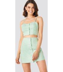 queen of jetlags x na-kd front button linen mix skirt - green