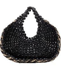 aranaz two-tone beaded tote bag - black