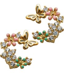 butterflies & flowers earrings in fine silver plate