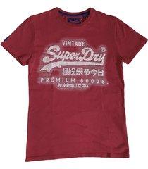 superdry stevig zacht slim fit t-shirt furnace red - valt 1 maat kleiner
