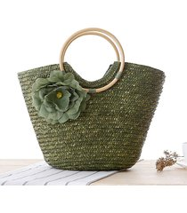 2017 quality design bucket beach bag summer straw handbags with flower national