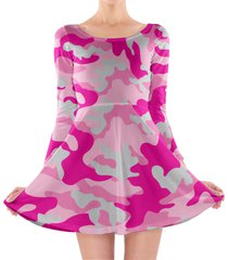 camouflage hot pink longsleeve skater dress