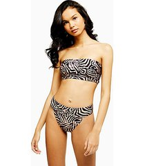 tiger print high leg bikini bottoms - neutral