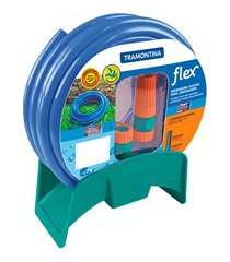 mangueira para jardim com esguicho e suporte flex 20 metros azul