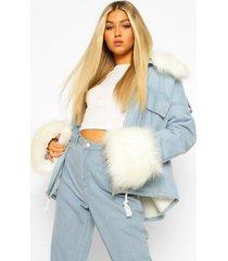 tall spijkerjas met faux fur kraag en manchettes, light blue