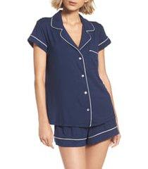women's eberjey gisele shorty pajamas, size small - blue