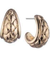 anne klein small basket weave textured open hoop earrings, 1/2""