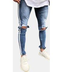 casual pantaloni zipper fly da uomo da uomo fly jeans con fori