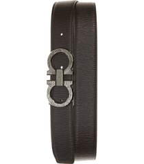 men's salvatore ferragamo revival reversible leather belt, size 46 - black/ brown/ gunmetal