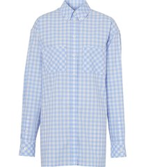 burberry gingham poplin shirt dress - blue