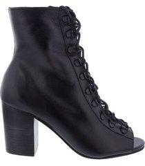 open boot gabriela salto grosso couro preto