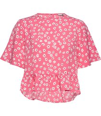 tjw printed peplum top blouses short-sleeved rosa tommy jeans